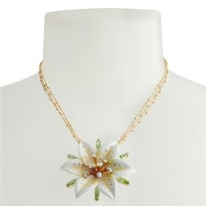Betsy Johnson White Lily Flower Pendant Necklace